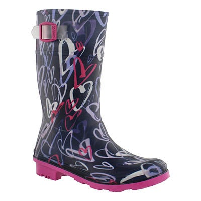 Grls Scribble navy wtpf rain boot