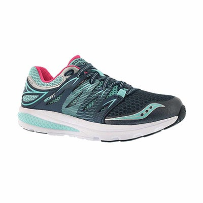 Saucony Girls' ZEALOT 2 navy lace up running shoes