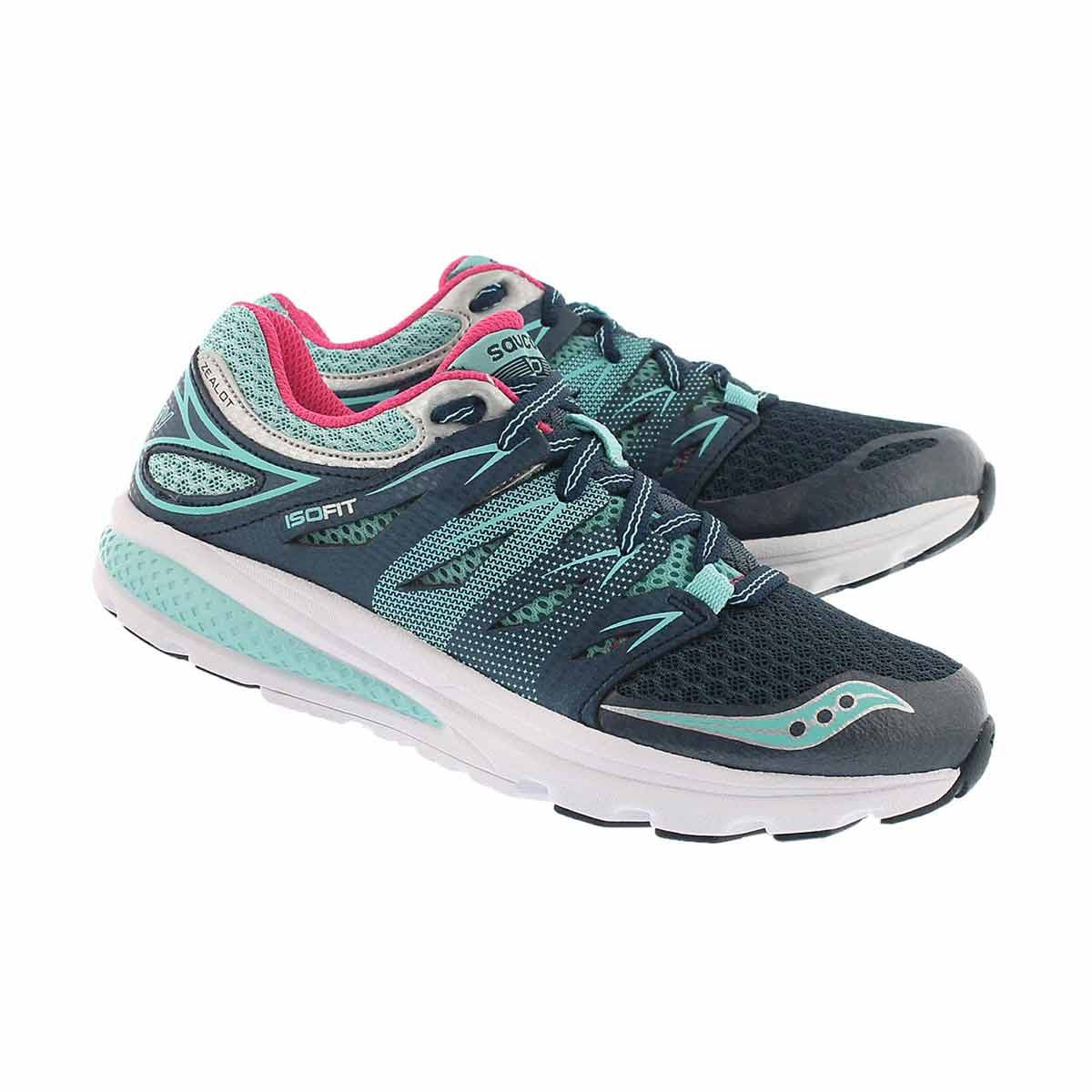 Grls Zealot 2 nvy lace up running shoe