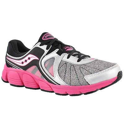 Saucony Girls' KOTARO 3 silver/pink lace up runners
