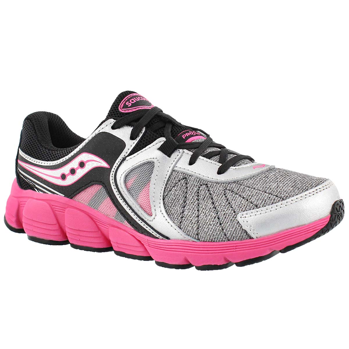Girls' KOTARO 3 silver/pink lace up runners