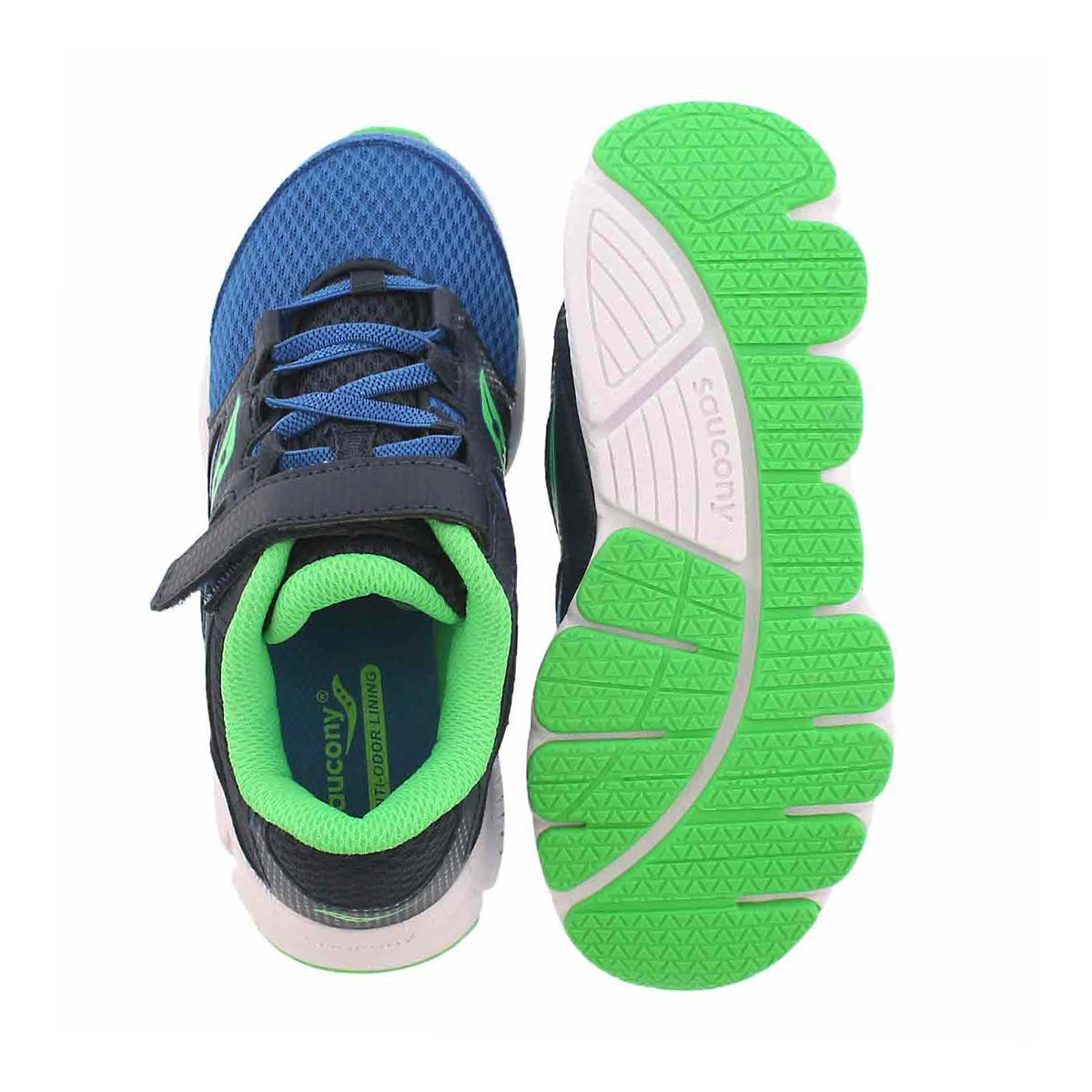 Bys Kotaro 4 nvy/grn lace up runner