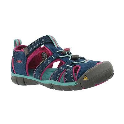Keen Girls' SEACAMP II navy/berry sandals