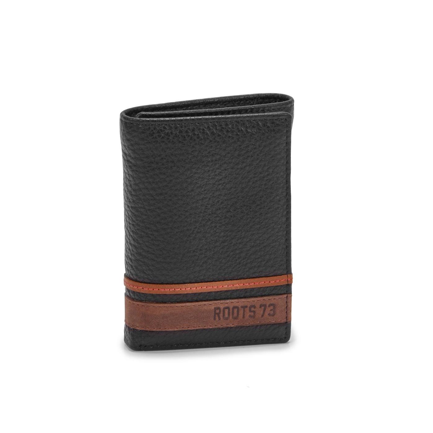 Men' SEEKER black trifold wallet