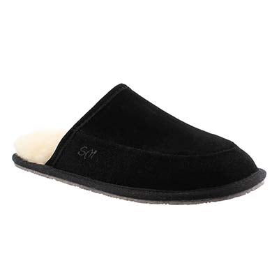 SoftMoc Men's SETH black memory foam slippers
