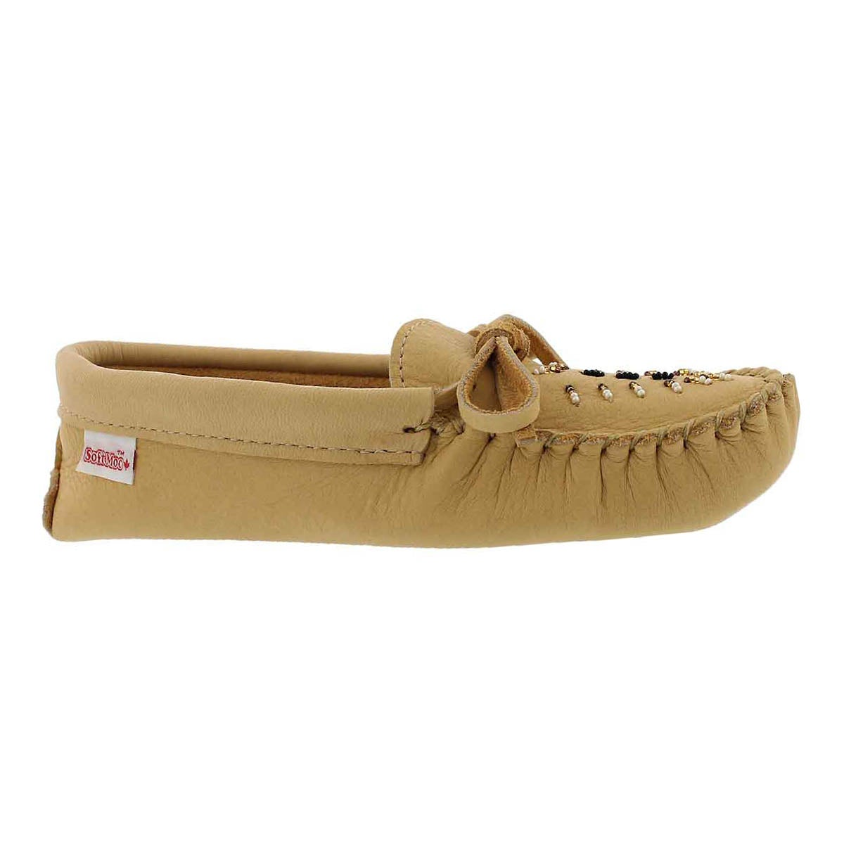 Women's natural moosehide unlined basic moccasin