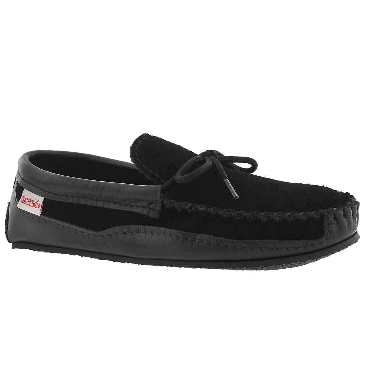Men's black crepe sole w/memory foam moccasins