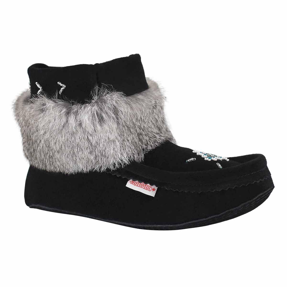 Lds black/grey suede mukluk