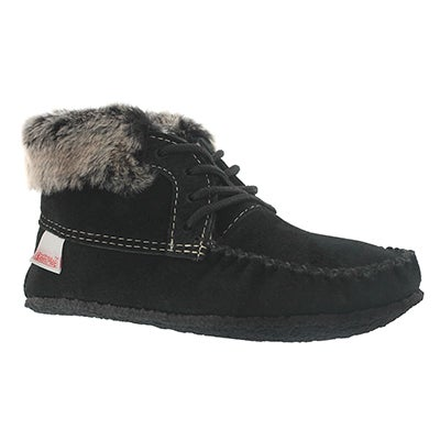 SoftMoc Women's HI CUT black suede fur collar moccasins
