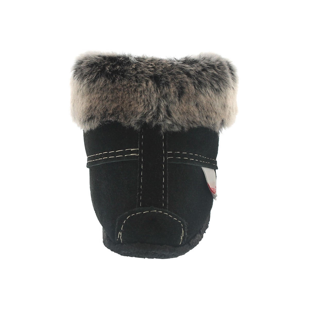 Lds hi cut black suede fur collar moc