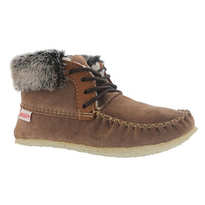SoftMoc Women's HI CUT tobacco suede fur collar moccasins