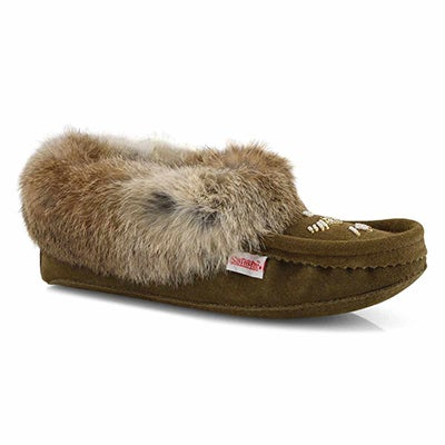 Lds army green rabbit fur moccasin
