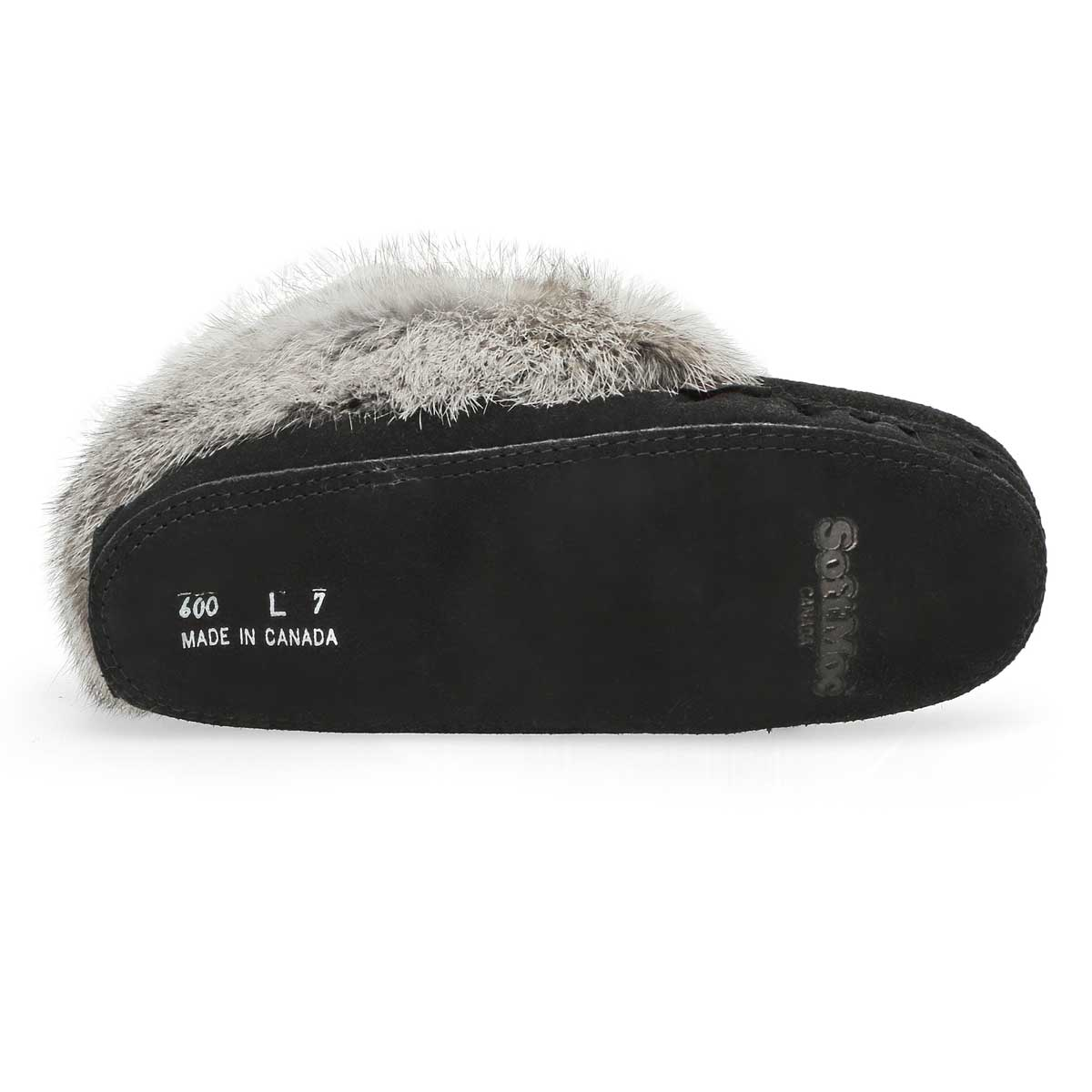 Lds black/grey rabbit fur moccasin