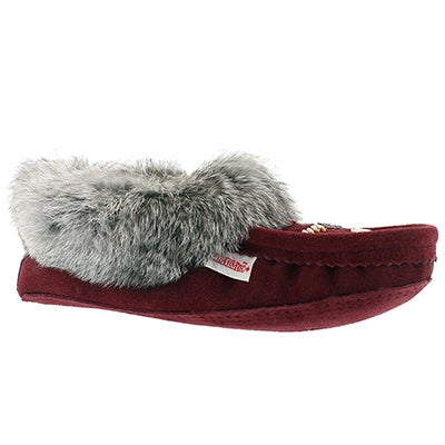 SoftMoc Women's SF600 burgundy rabbit fur moccasins