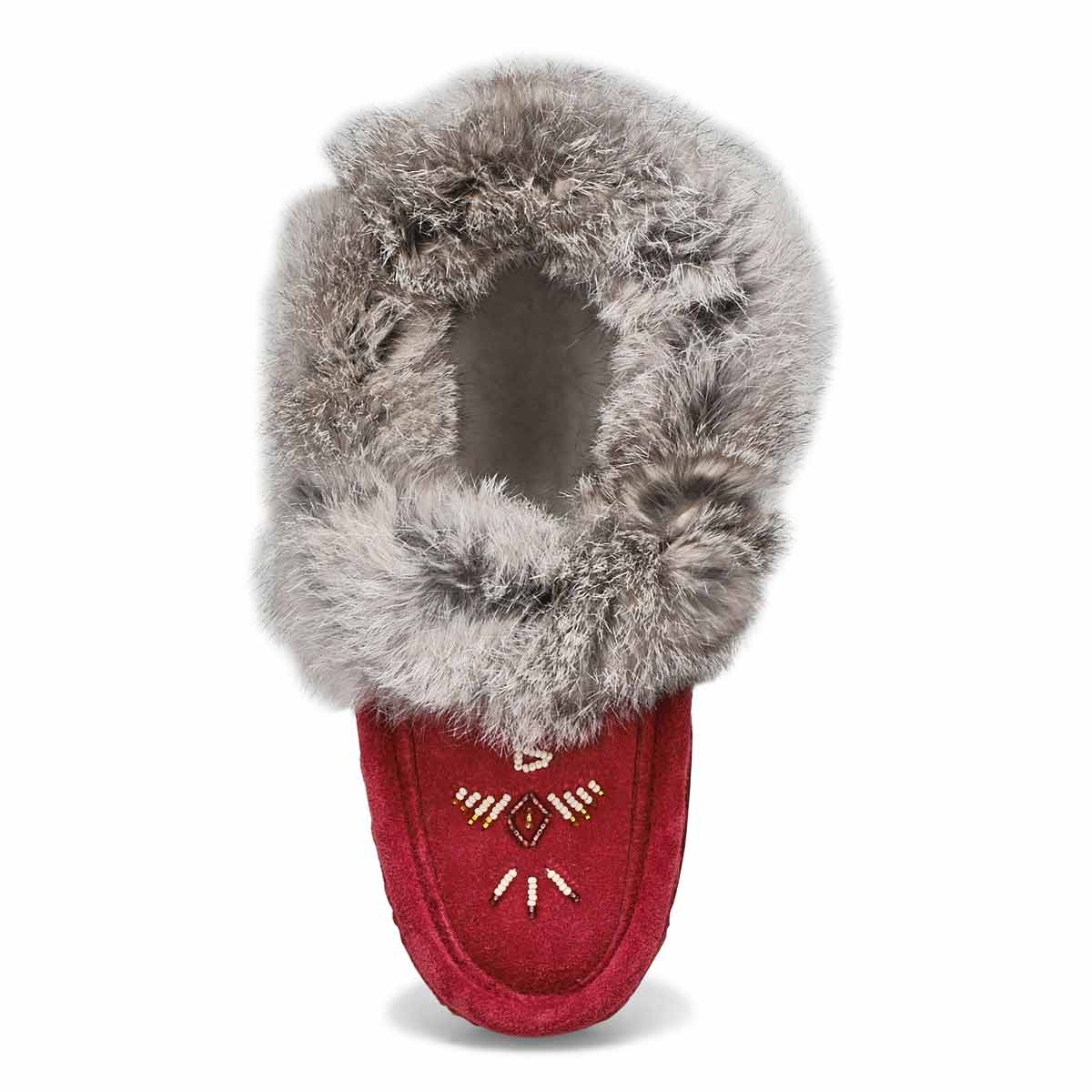 Lds burgundy rabbit fur moccasin