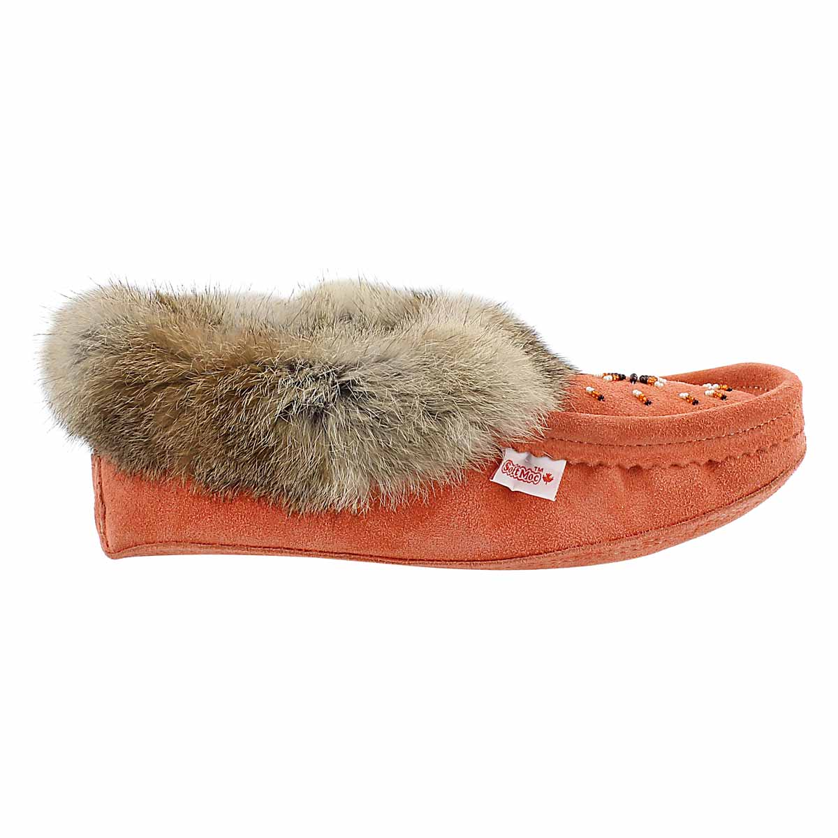 Lds coral rabbit fur moccasin