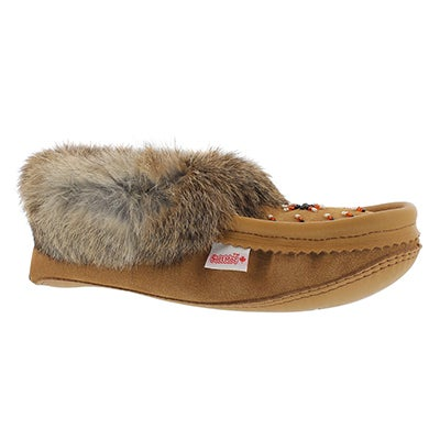 SoftMoc Women's SF600 tan rabbit fur moccasins