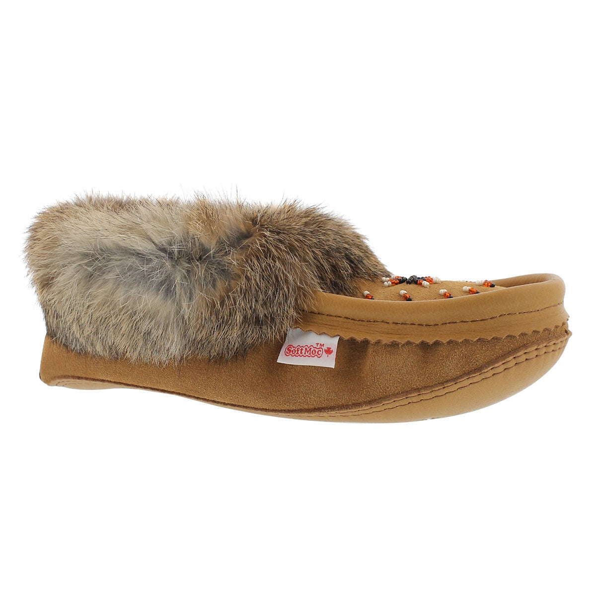 Lds tan rabbit fur moccasin