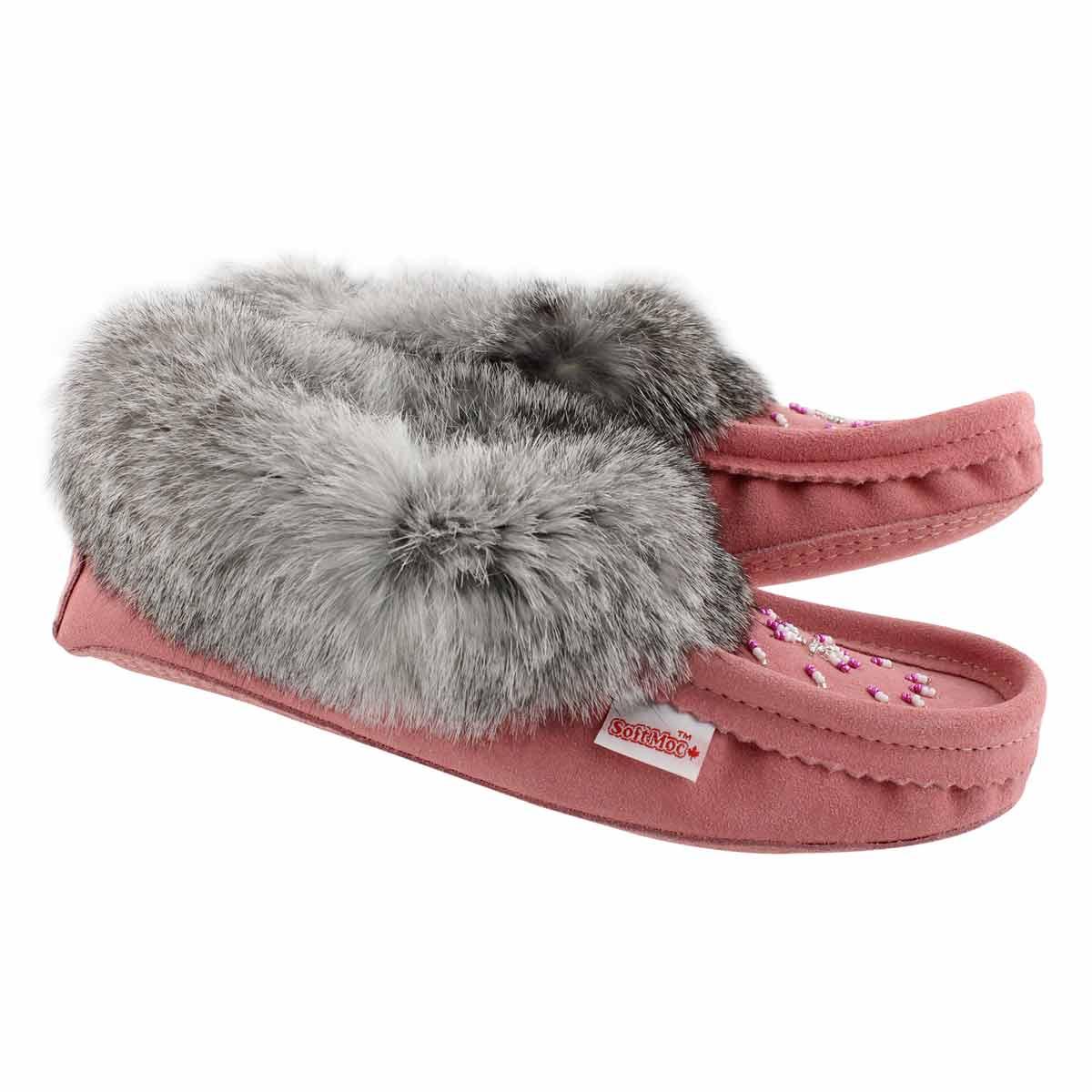 Lds flamingo rabbit fur moccasin