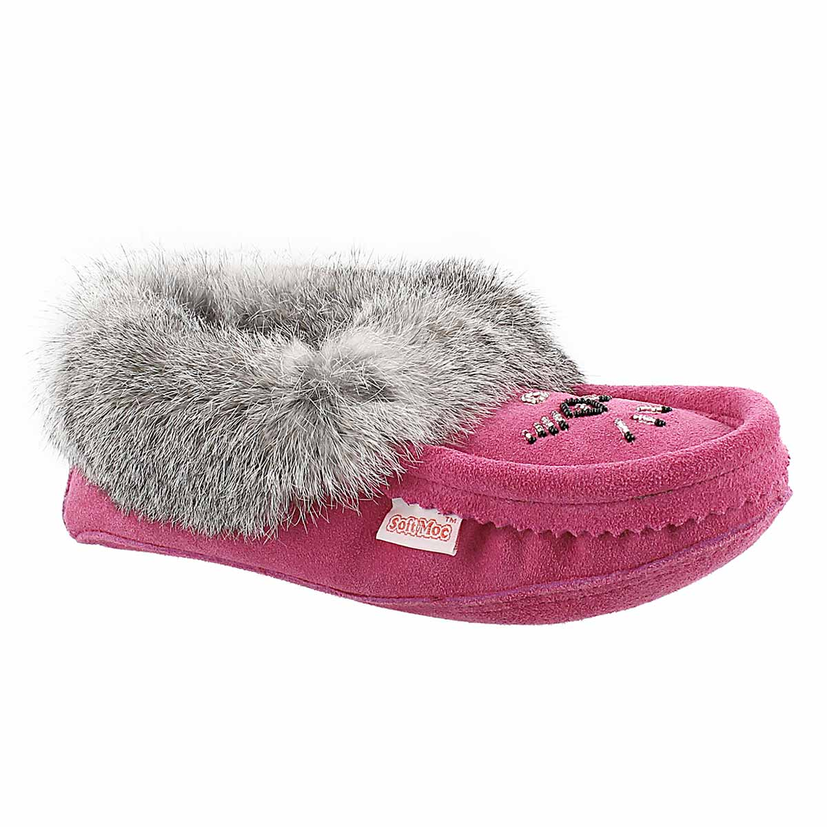 Lds fuchsia rabbit fur moccasin