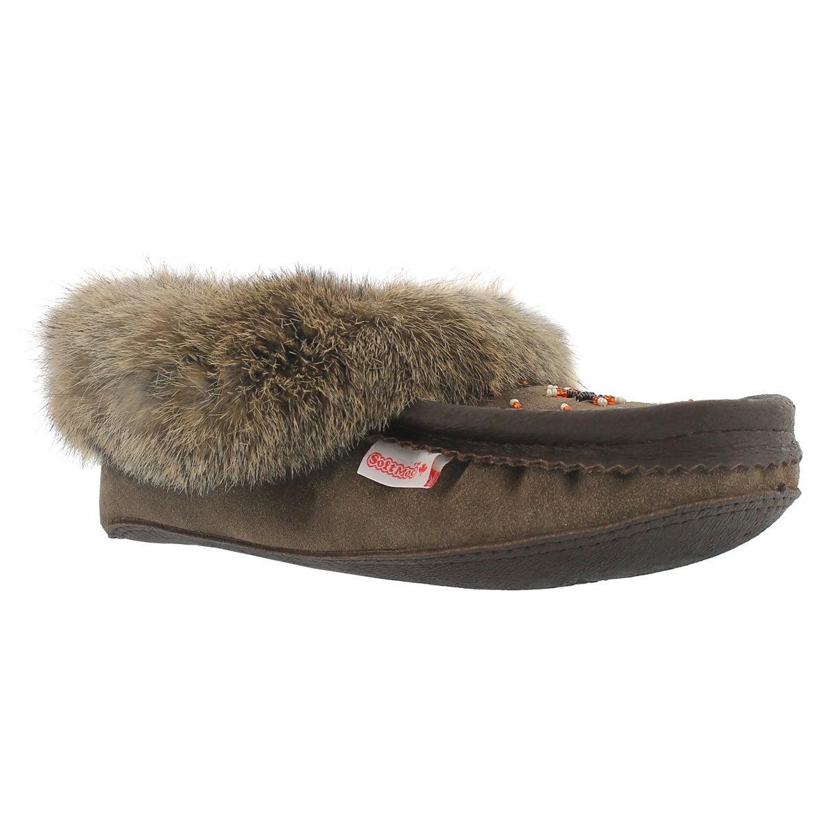 Women's SF600 smoke rabbit fur moccasins