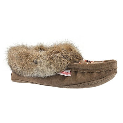 SoftMoc Women's SF600 brown rabbit fur moccasins