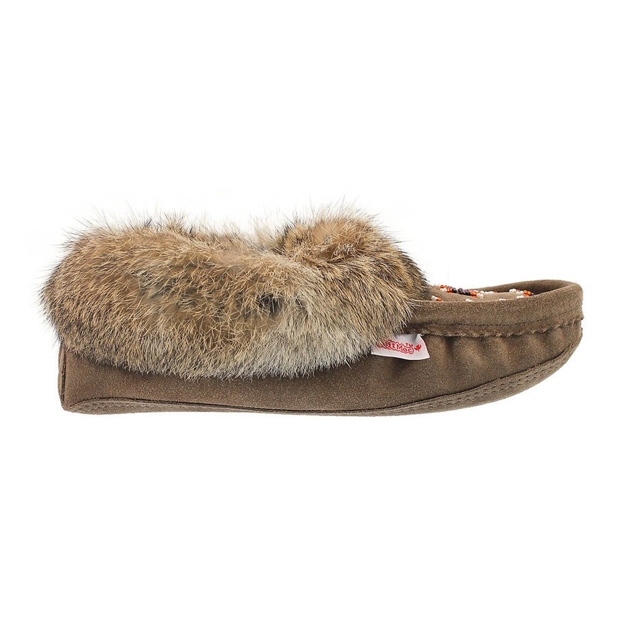 Lds brown rabbit fur moccasin