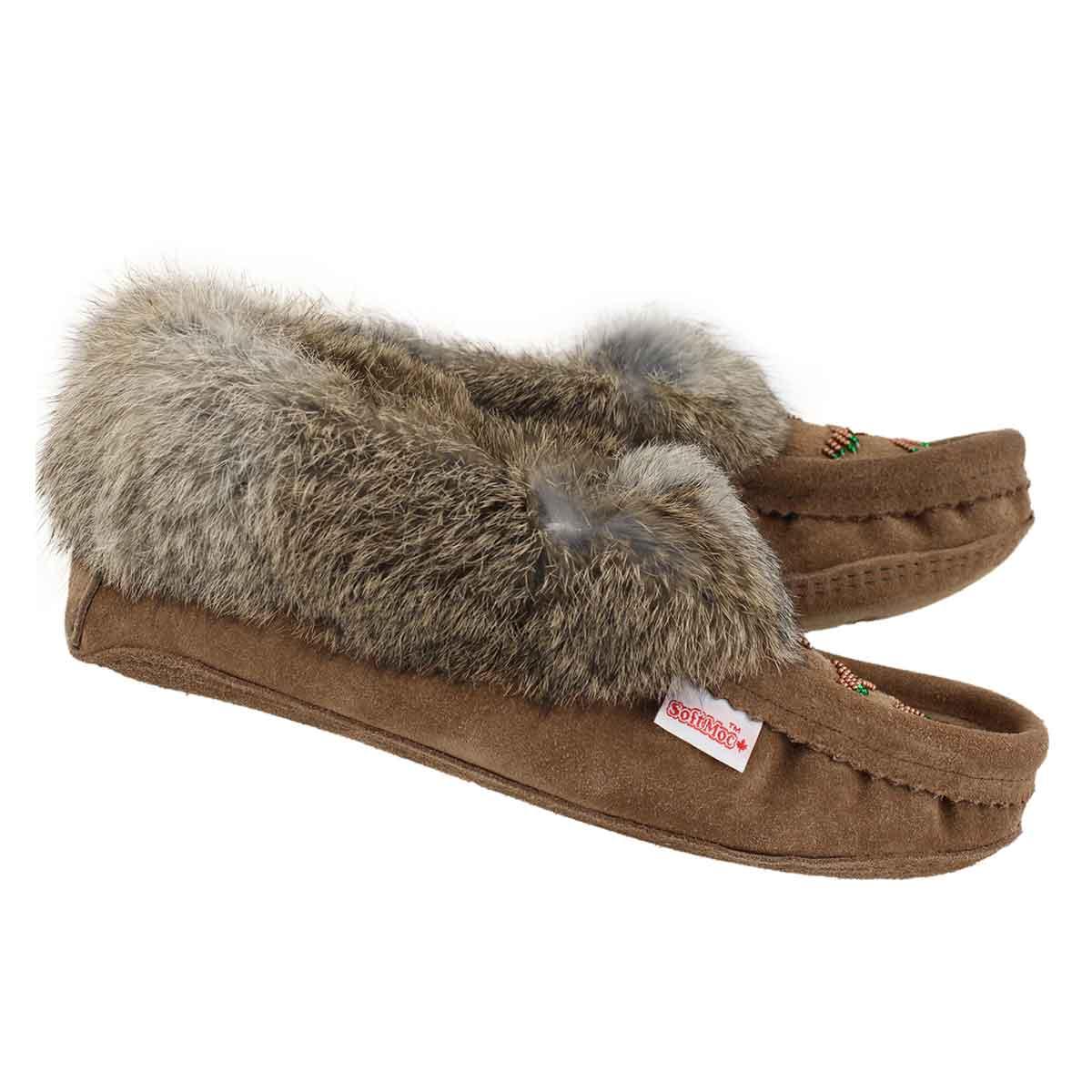 Lds tobacco rabbit fur moccasin