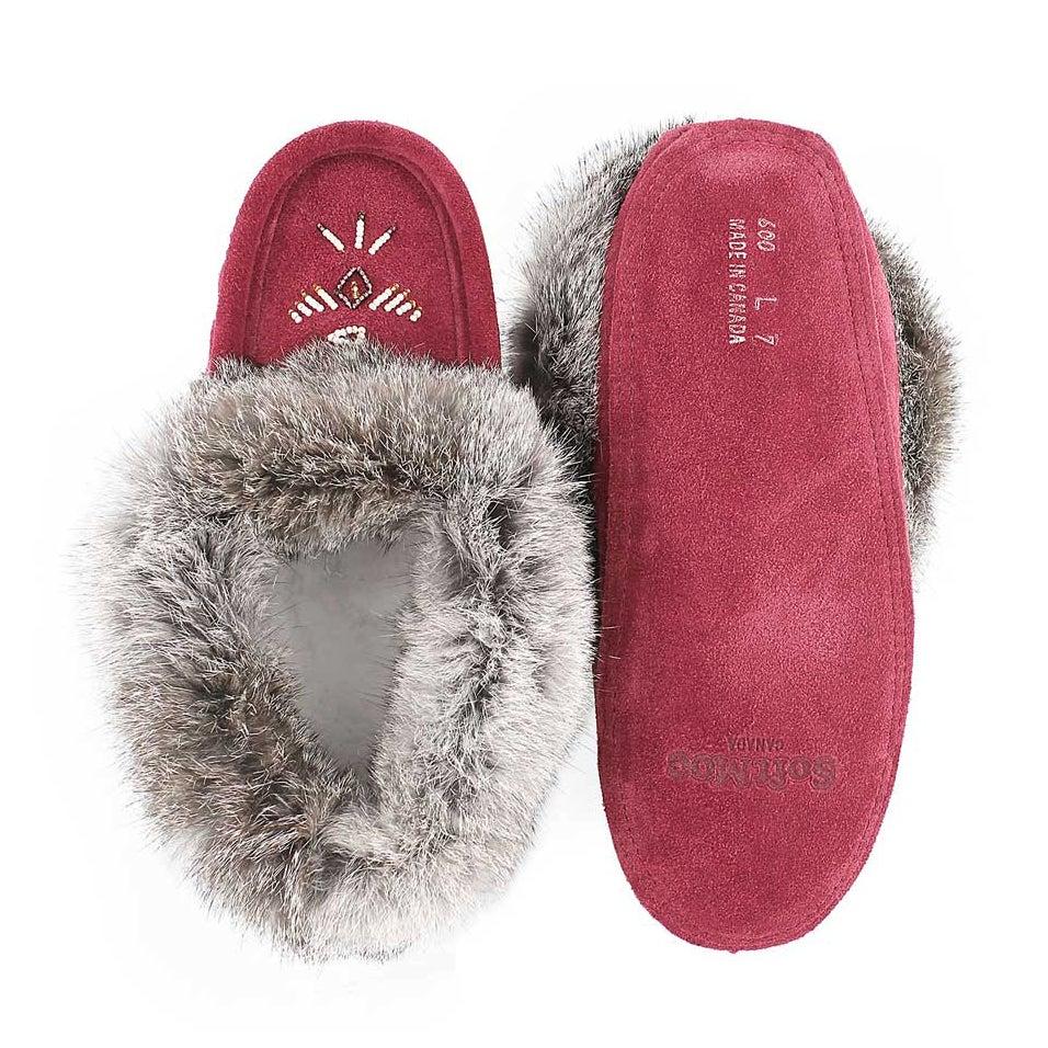 Lds burgundy rabbit fur moccasin