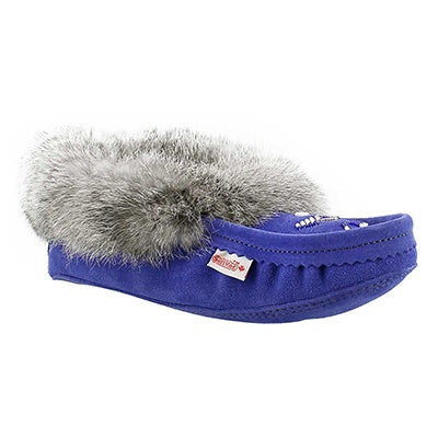 SoftMoc Women's RABBIT royal blue fur moccasins