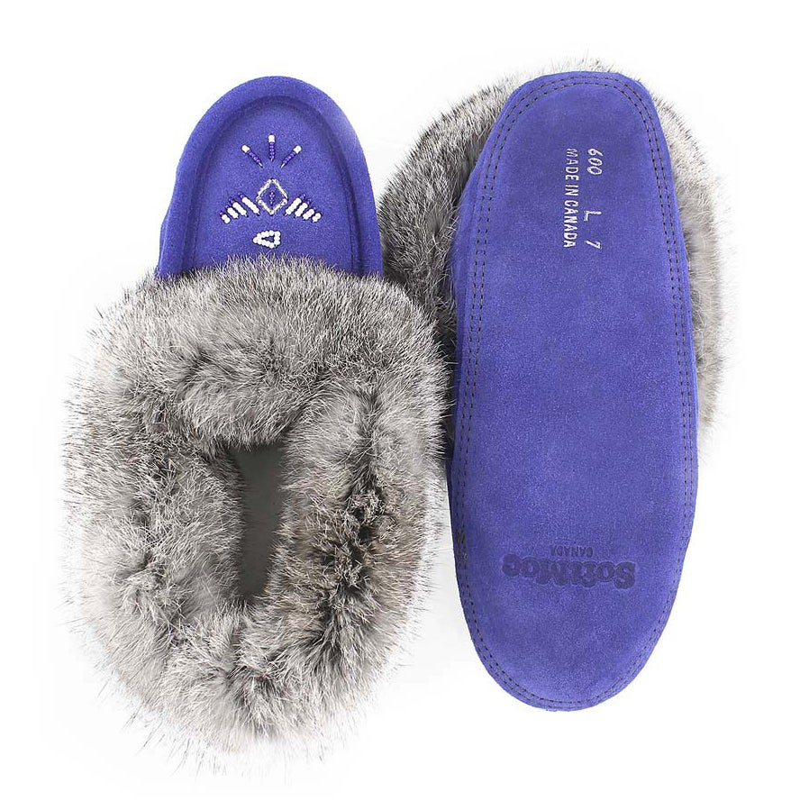 Lds Royal blue rabbit fur moccasin