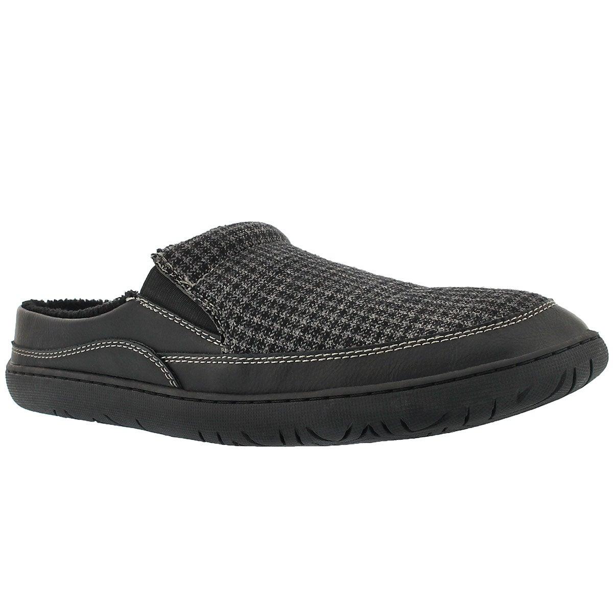 Mns Sheldon black pld open back slipper