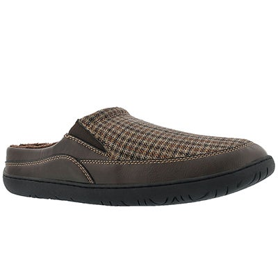 Foamtreads Men's SHELDON brown plaid open back slippers
