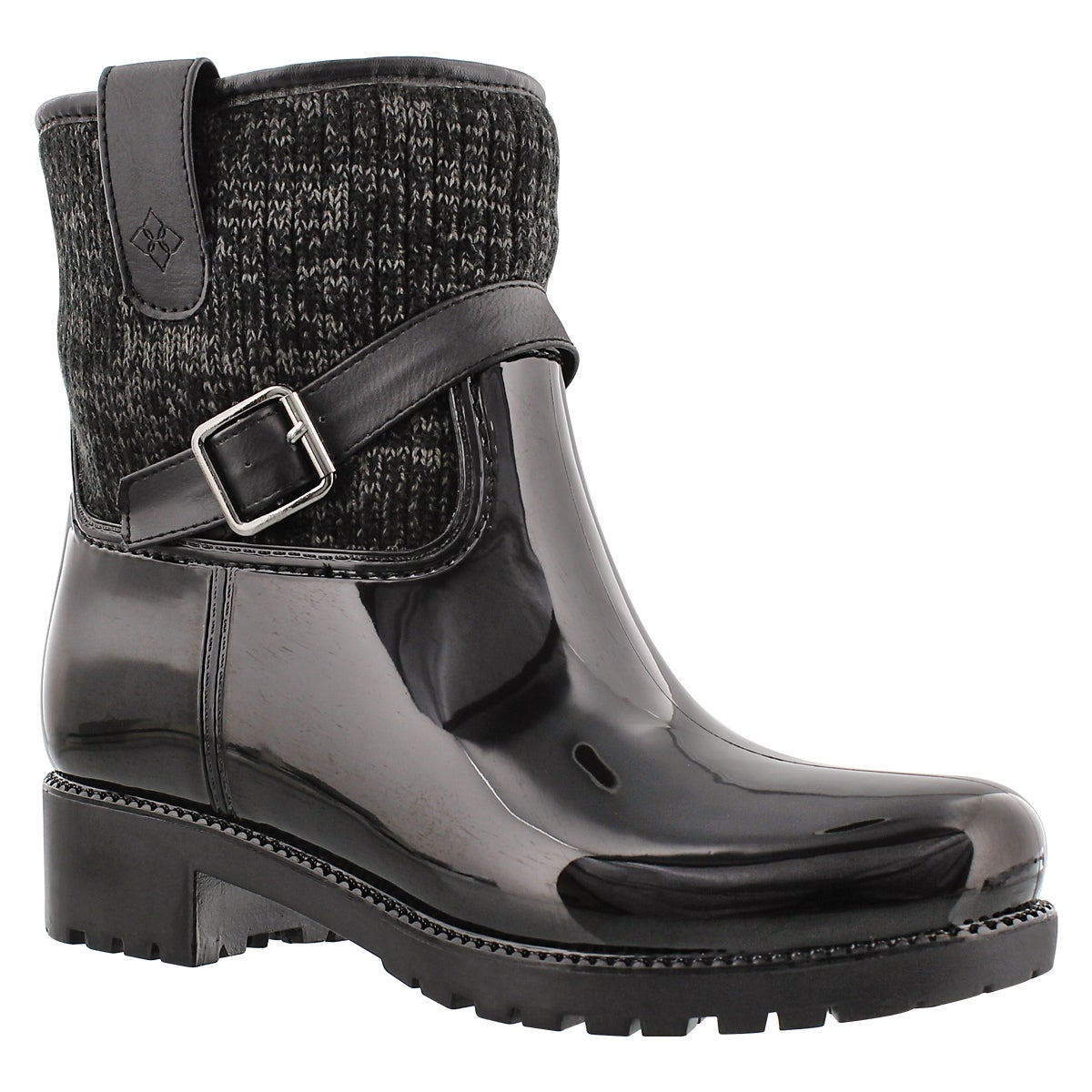 Lds Shelton blk buckle rain boot