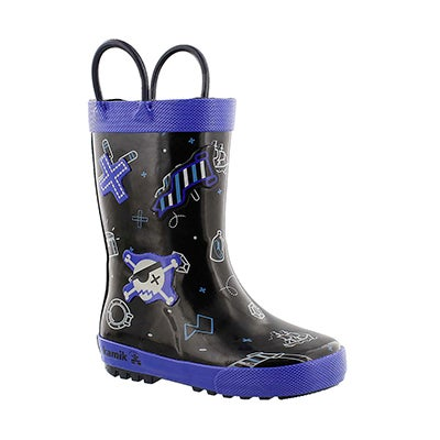 Kamik Boys' SHIPWRECK black printed rain boots
