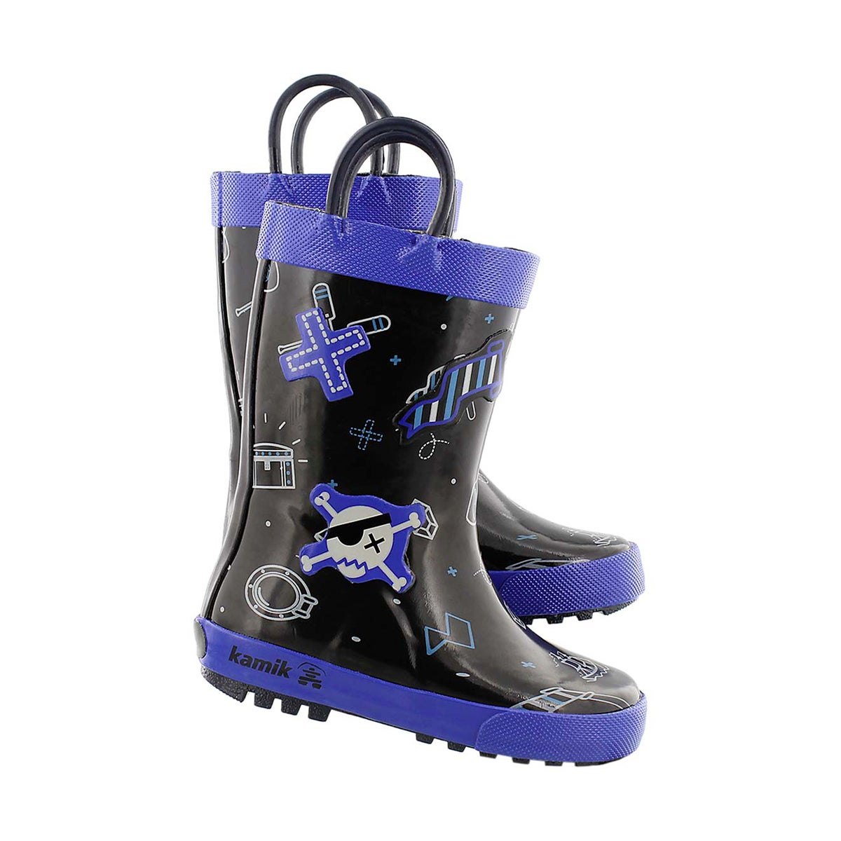 Bys Shipwreck black printed rain boot