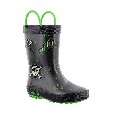 Kamik Boys' SHIPWRECK light grey printed rain boots