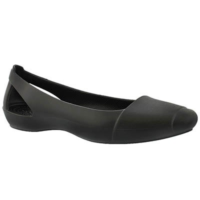 Lds Sienna black slip on flat