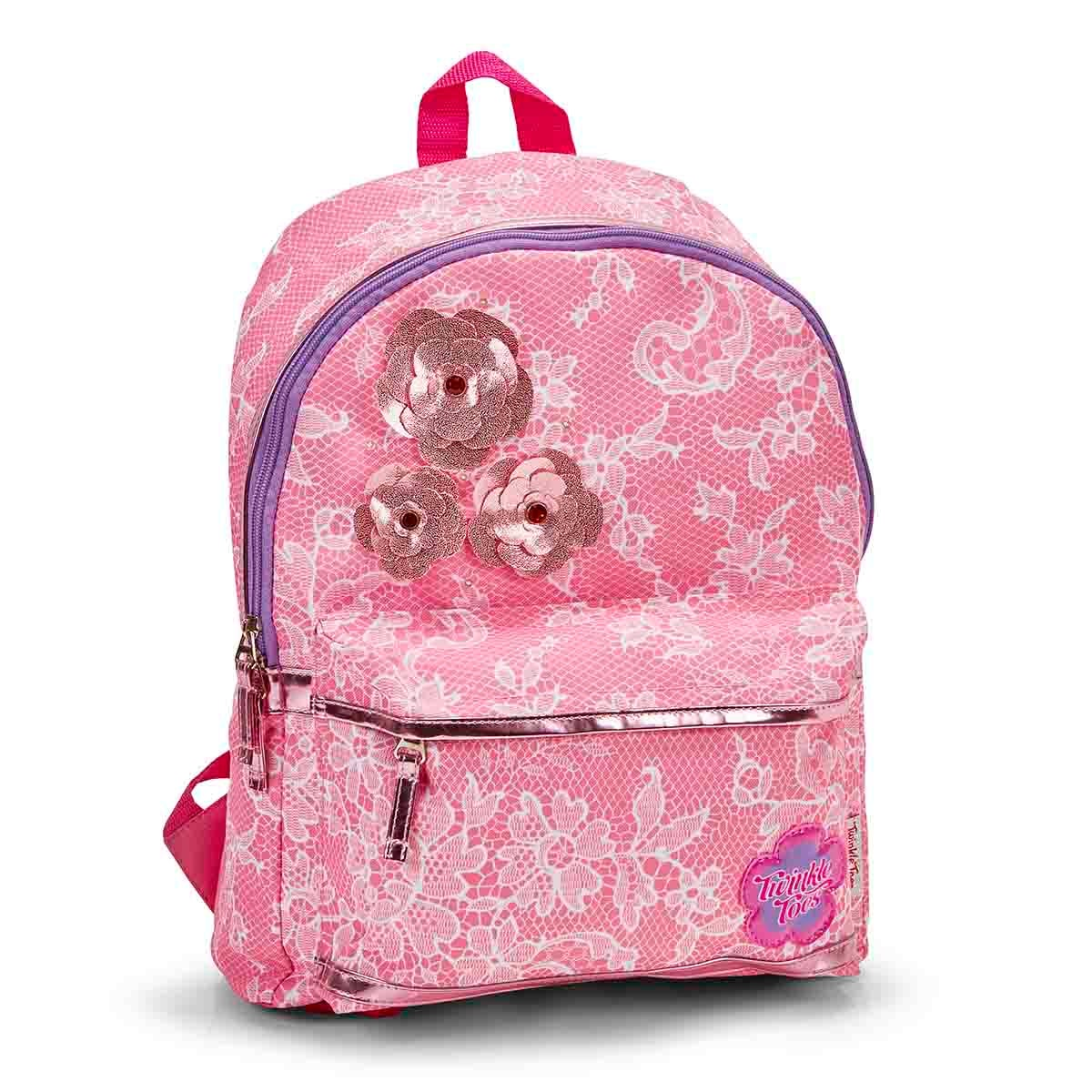Girls CHANTILLY rose lace twinkle lightup backpack