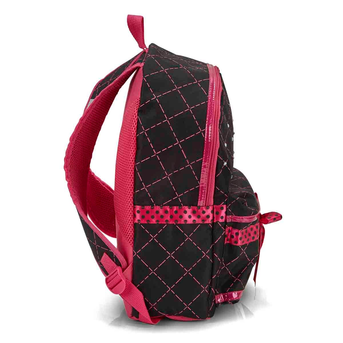 Grls DmndQuilt bk twinkle light backpack