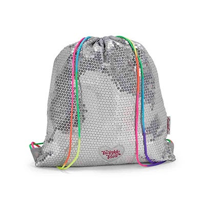 Skechers Girls TWINKLE TOES silver drawstring backpack