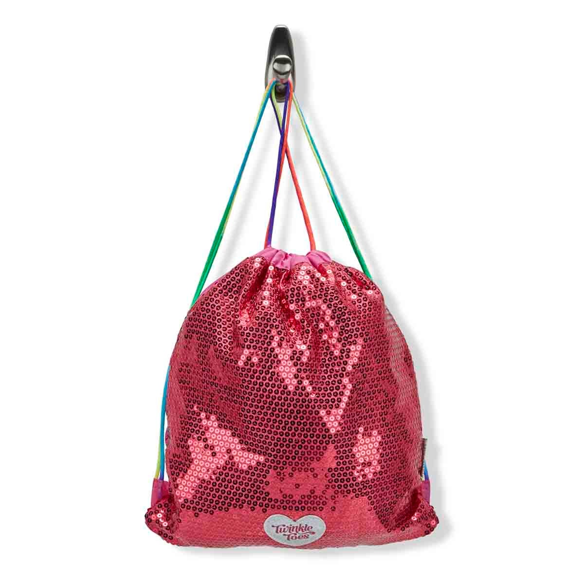 Grls TwinkleToes pnk drawstring backpack