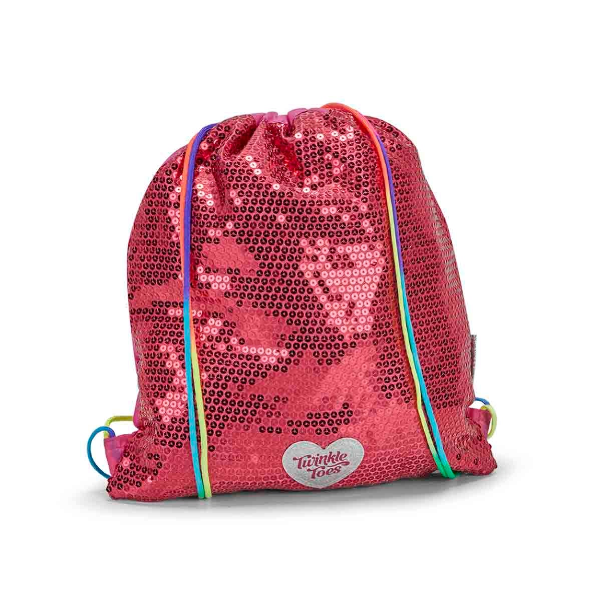 Girls TWINKLE TOES pink drawstring backpack