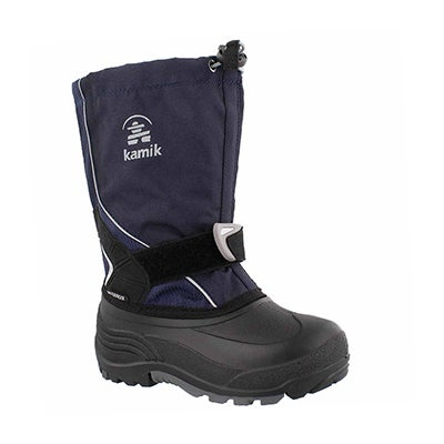 Bys Sleet navy pull on winter boot