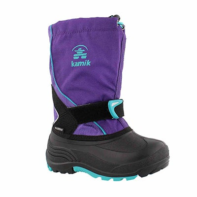 Grls Sleet purple pull on winter boot