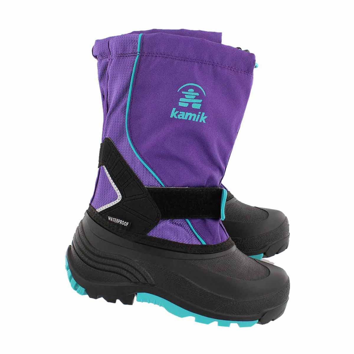 Grls Sleet purple pull on winter boot