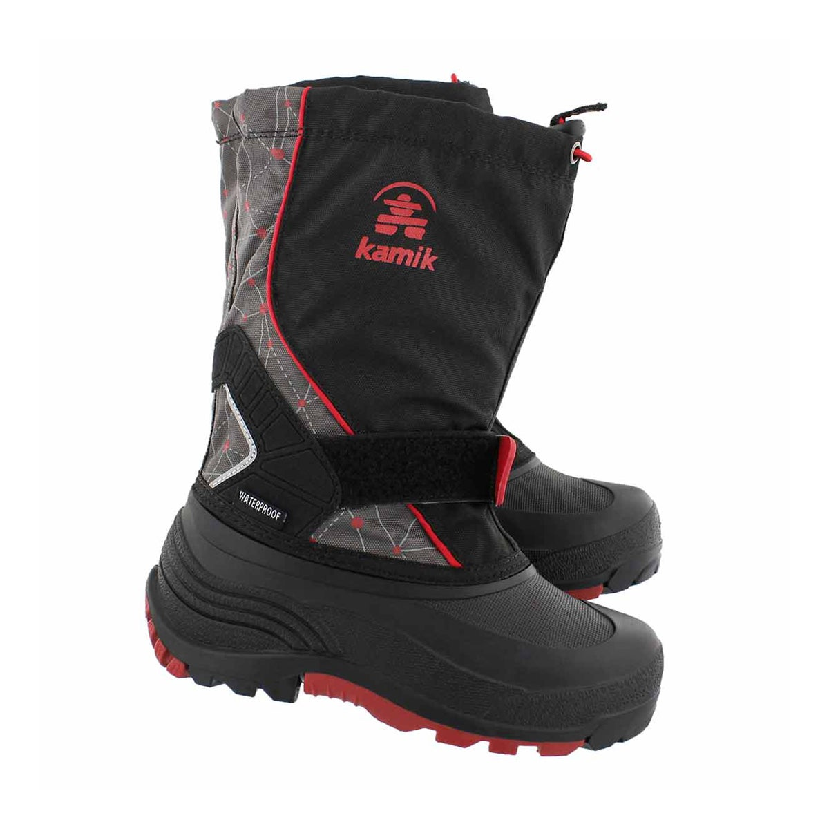 Bys Sleet 2 blk/red pull on winter boot