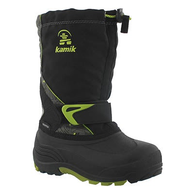 Kamik Boys' SLEET 2 black/lime pull on winter boots