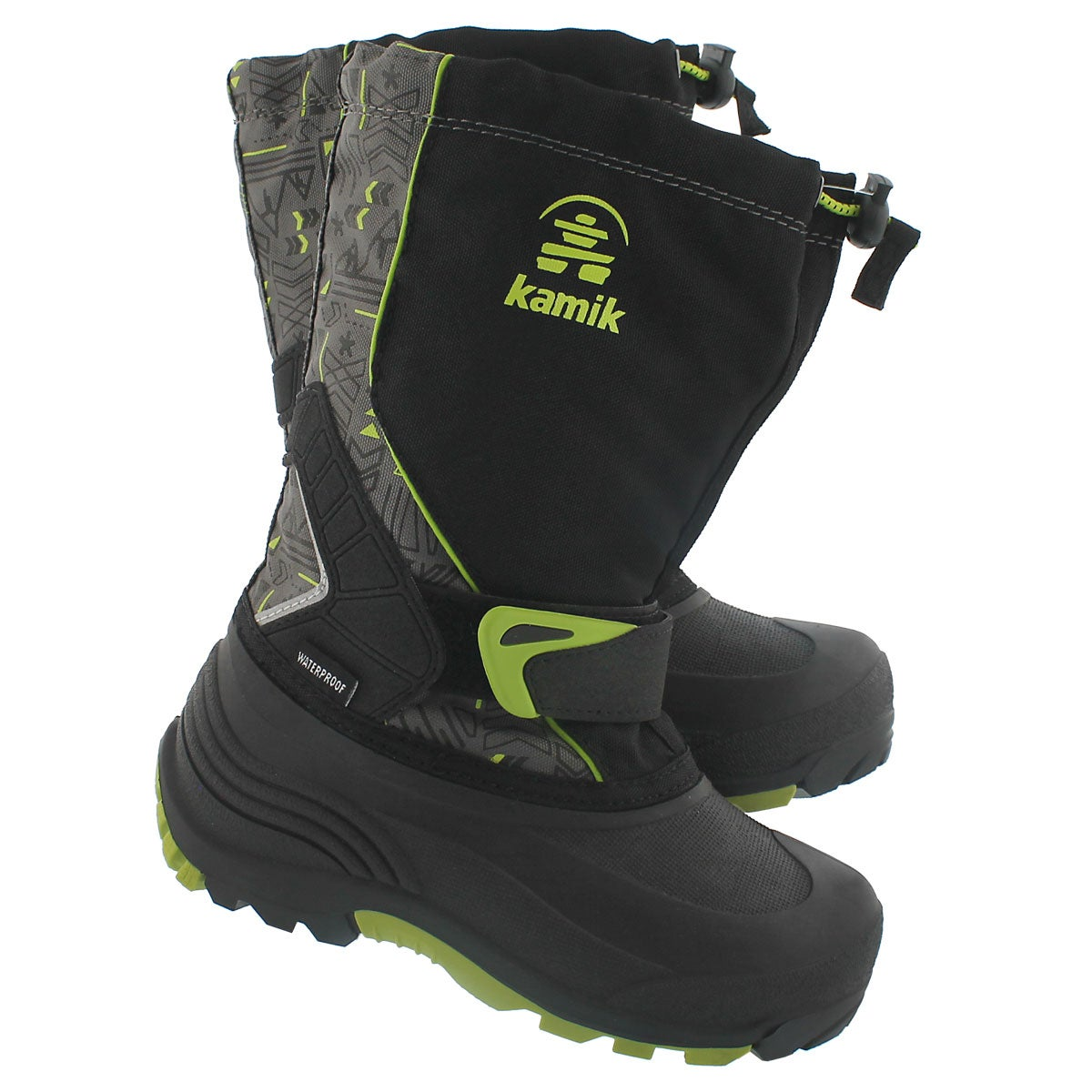 Bys Sleet2 blk/lime pull on winter boot