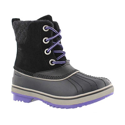 Sorel Girls' SLIMPACK II LACE black waterproof boots